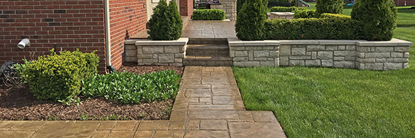 sealed stamped concrete patio and sidewalk