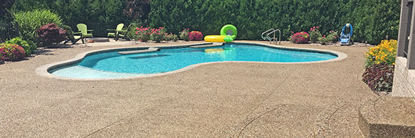 exposed aggregate pool deck and steps