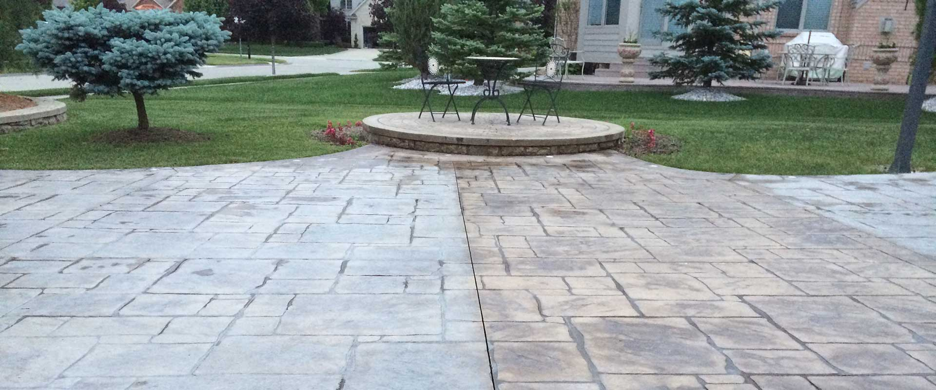 before and after sealing stamped concrete driveway