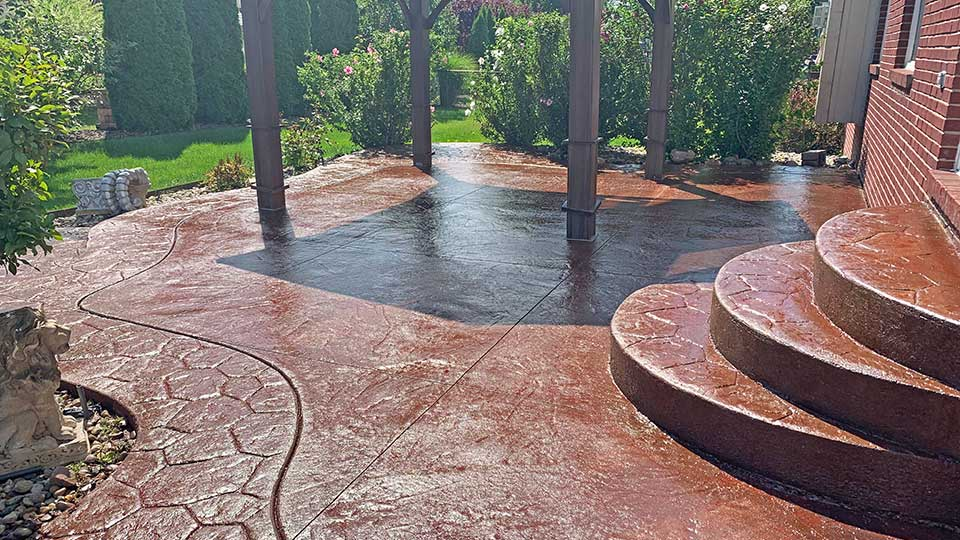 stamped patio after concrete sealer stripping and re-coloring in macomb and oakland county, MI