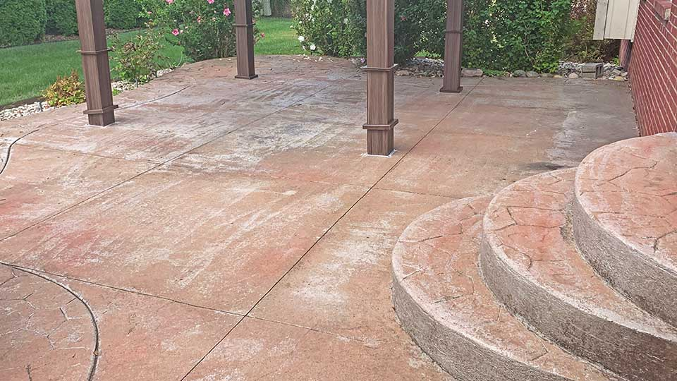 stamped patio before concrete sealer stripping in macomb and oakland county, MI